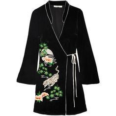 RIXO London Iris embroidered velvet wrap dress (2 665 SEK) ❤ liked on Polyvore featuring dresses, coats, black, velvet embroidered dress, wrap tie dress, velvet dress, mandarin collar dress and iris dress