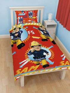 Fireman Sam Alarm Single Reversible Duvet Cover Pillowcase Set - Brand New Design 2 designs in 1 Duvet Cover size 135cm x 200cm:  Little Fireman Sam fans will love snuggling up in this Fireman Sam Alarm Reversible Duvet Cover and Pillowcase Set. Both sides feature brave Sam on the duvet cover and comes in bold primary colours. The reverse also features Sams colleagues Elvis and Penny. This item can be machine washed and tumble dried on a cool setting.
