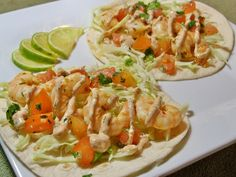 Spicy Citrus Shrimp Tacos with Southwestern Cream Sauce. And only 350 calories for 2 tacos!