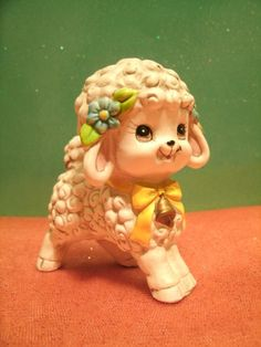 SALE Vintage Lefton Lamb Figurine Kitsch With Yellow Bow and Blue Flowers