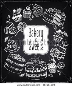 Set of hand-drawn pastries and sweets. Bakery shop. Vector icons of sweet bakery. Freehand drawing with imitation of chalk sketch - stock vector