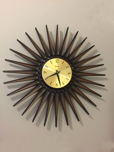 My vintage Syroco sunburst clock! Sunburst Clock, Clocks, Mid Century, Wall, Vintage, Home Decor, Decoration Home, Room Decor, Retro