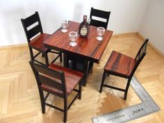 gorgeous 1:12 scale hand crafted miniature pub table and chairs set - love the cocobolo wood