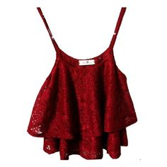 Vikoros Women Flowy Lace Overlay Adjustable Strap Crop Top Tank... ($28) ❤ liked on Polyvore featuring tops, crop top, red bustier top, crop bustier, lace overlay top and red crop top