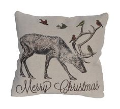 Burlap Christmas Pillow- How cool would these be sitting out for the holiday season?  Pearls and Petit Fours