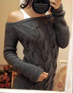 Comfy oversized sweater with off-the-shoulder neckline