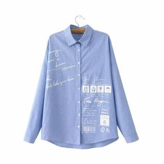 Women cute letters icons print oversized striped shirts blue long sleeve loose blouse office ladies fashion brand tops LT1458