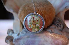 Prayerful Angel devotional medal by diddywadiddy on Etsy, $14.00