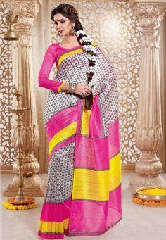 Cream And Pink Art #Silk Saree designed with Printed Work. As shown Pink Art #Silk Blouse fabric is available which can be customized as per requirements.  INR :-1190 With exciting Flat 25% discount