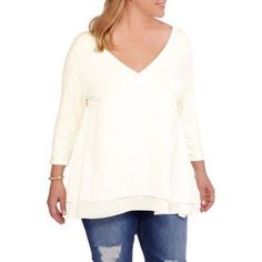 Plus Size Extra Touch Juniors' Plus Knit Top with Dolman Sleeves and T Back, Size: 1XL, Beige