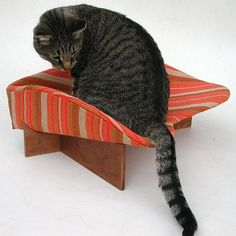 Retro Modern Pet Bed in Red Gold Stripe