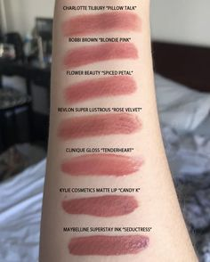 """Charlotte Tilbury Pillow Talk Matte Revolution Lipstick Dupes I have another Charlotte Tilbury Lipstick dupe to share with you! The next shade up on the dupe list is """"Pillow Talk"""", a dreamy nude. Mac Lipstick Cosmo, Peach Lipstick, Lipstick For Fair Skin, Mac Matte Lipstick, Natural Lipstick, Lipstick Swatches, Pink Lipsticks, Lipstick Tricks, Mascara Tricks"""
