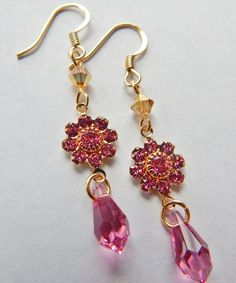 Check out this item in my Etsy shop https://www.etsy.com/listing/228389391/pink-swarovski-earringsswarovski