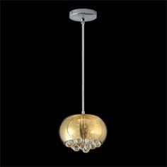 PENDENTE HU6522P BELLA Cód. do produto: 8403112 Código: 8403112 Ref. do Produto: HU6522P Pendente para 1 lâmpada halógena G9 de 40W. Produzido em aço, cúpula em vidro ambar espelhado, pingentes em cristal, canopla em banho cromado. Indicado para iluminação e decoração de ambientes. Acompanha 1.20MT de cabo