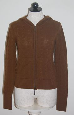 Zara Knit 100% Cashmere Brown Cardigan Sweater Pockets S | eBay ...