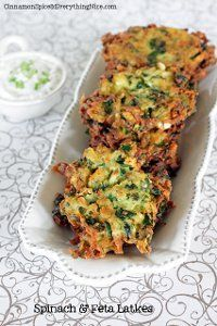 Shredded potatoes, fresh baby spinach, salty bites of feta cheese and sweet, aromatic dill weed help turn these tasty latkes into objects of devote affection. Spinach and Cheese Potato Pancakes have crispy, wispy edges and firm middles making them one of the best potato recipes we have. Serve with a dollop of cucumber sauce or sour cream for a tasty appetizer or anytime snack.