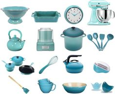 Brighten your kitchen with retro aqua kitchen tools and appliances.