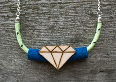 Glow in the Dark Jewelry Neon Yellow Chunky Rope Geometric Gem Statement Necklace with Blue Suede Leather and Wooden Diamond Shaped Charm