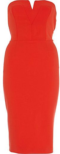 River Island Womens Red bandeau pencil dress