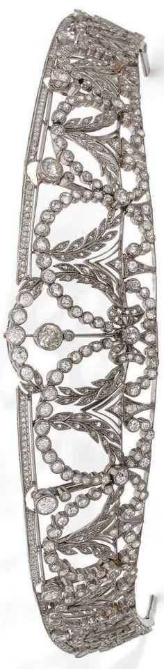 A Belle Epoque platinum and diamond tiara, early 20th century. #BelleÉpoque #tiara