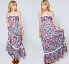 Vintage 70s Strapless Maxi Dress FLORAL Sun Dress by LotusvintageNY