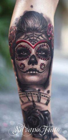 Sugar skull tattoo by Silvano Fiato Chicano Tattoos, Leg Tattoos, Sleeve Tattoos, Cool Tattoos, Tatoos, Amazing Tattoos, Skull Girl Tattoo, Sugar Skull Tattoos, Sugar Skulls