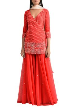 Shop MadSam TinZin - Red wrap kurta with gharara pants & net dupatta Latest Collection Available at Aza Fashions Gharara Designs, Kurta Designs, Blouse Designs, Dress Indian Style, Indian Dresses, Indian Outfits, Indian Clothes, Indian Fashion Trends, Indian Designer Outfits