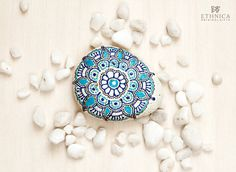 Painted rock / blue turquoise flower / painted by NikaEthnica
