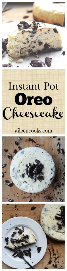 I made this oreo cheesecake in my instant pot and it was so good! If you have a pressure cooker, then you need to try this recipe for instant pot Oreo cheesecake. This is the perfect sweet dessert recipe to make in your instant pot! via Aileen Cooks