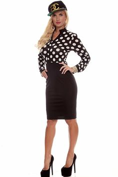 This dress features a polka dot design through out, long sleeves, back zipper closure, mid length. Measures at 41 inches from shoulder to finished hemline. #lollicouture #chic #dresses #fashion #summerfashion #summerstyle #bow
