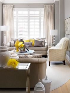 Brown Grey Yellow Living Room Design Ideas Pictures Remodel And Decor
