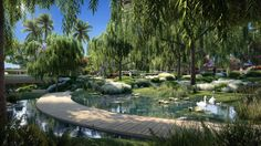 Landscape architecture firm RIOS has designed the green space with 4.5 acres (1.8 hectares) of public botanical and sculpture gardens and 3.5 acres (1.4 hectares) of private gardens for residents and hotel guests.  In total, it includes nine distinct botanical gardens, pools and ponds and two one-mile-long walkways separating the public and private links around the landscape. Organic Architecture, Landscape Architecture, Beverly Hills, The Fosters, Los Angeles Landscape, Foster Partners, Residential Complex, Lush Garden, Private Garden