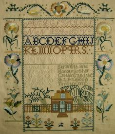 Antique sampler by Elizabeth Gould from 1807. Made in the vicinity of Centreville, Maryland.