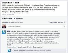 KLM communiceert in dezelfde taal als de klant. Mooi voorbeeld hoe het ook kan in webcare.