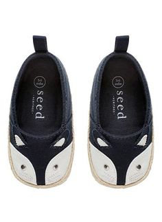 Baby fox shoe. Featuring fox face with whiskers and pointed ears. Synthetic upper, lining and sole.