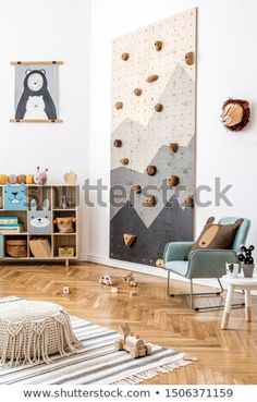 Stock Photo: Stylish scandinavian interior design of childroom with modern climbing wall for kids, design furnitures, soft toys, teddy bear and cute children's accessories. Home decor. Mock up poster. Scandinavian Interior Kids, Interior Modern, Scandinavian Baby Room, Climbing Wall Kids, Cool Kids Bedrooms, Kids Room Design, Home Decor Furniture, Boy Room, Room Interior