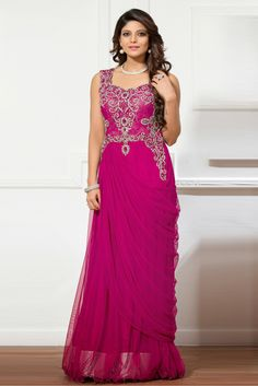 Magenta Colour Net and Shimmer Fabric Designer Semi Stitched Gown Comes With Matching Dupatta. This Gown Is Crafted With Cut Dana,Diamond Work,Stone Work. This Gown Comes as Semi Stitched So It Can Be...