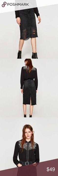 Zara midi skirt Brand new with tags Zara midi skirt in size M . Super chic . Looks great with boots , sandals / heels . ❌NO TRADE ❌ Zara Skirts Midi