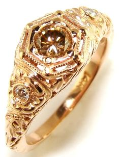 Prosecco Diamond & Rose Gold Engagement Ring $1700
