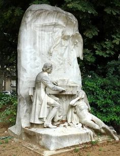 """Parc Monceau ~ Parc Monceau ~ Monument à Chopin (1810–1849) Polish composer and virtuoso pianist of French-Polish parentage. He is considered one of the great masters of Romantic music. He settled in Paris as part of Poland's Great Emigration. He carried on a long relationship with the French writer Amantine Dupin (pen name """"George Sand""""). He died in Paris at age 39. (The two woman figures represent Music and Harmony)"""