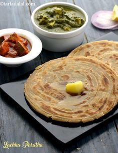 Lachha Paratha, How To Make Lachha Paratha recipe, Whole Wheat Easy Indian Recipes, Dinner Recipes Easy Quick, Veg Recipes, Vegetarian Recipes, Cooking Recipes, Empanadas, Best Cinnamon Rolls, Punjabi Food, Paratha Recipes