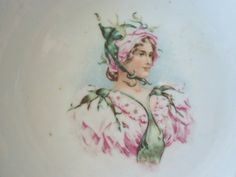 Antique Porcelain Portrait Bowl  Girl Dressed as by IcicleGarden