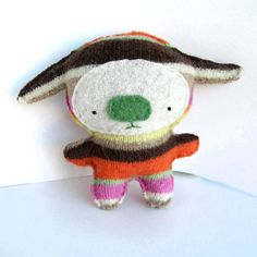 Multicolor Striped Foo doesnt care what people say. Beet juice is awesome! This juicing Foo is made from recycled wool, cotton embroidery floss and Juicing, Softies, Dinosaur Stuffed Animal, Recycling, Plush, Embroidery, Trending Outfits, Toys, Unique Jewelry