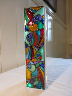 Hand painted glass, abstract design glass vase