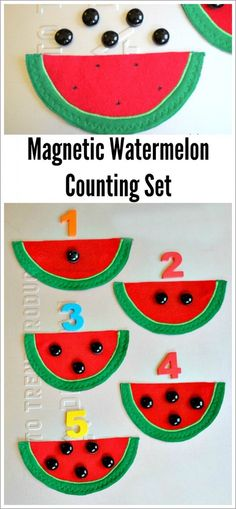 A colorful felt magnetic counting set for little hands! Targets fine motor, one-to-one correspondence, and number recognition with fun watermelon shapes. by celia Counting Activities, Learning Activities, Toddler Activities, Kids Learning, Kindergarten Math, Preschool Activities, Early Years Maths, Dora, Math Numbers