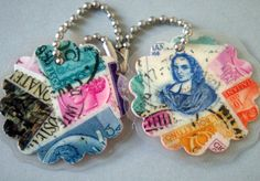 Italy Vintage Postage Stamp Collage Key Chains Set of 2. $5.50, via Etsy.