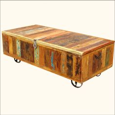 Dessert Rustic Reclaimed Wood Gothic Iron Storage Trunk Chest | trunks | Pinterest | Storage trunk Rustic dining table set and Wood furniture & Dessert Rustic Reclaimed Wood Gothic Iron Storage Trunk Chest ...