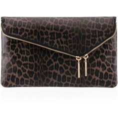 Henri Bendel Debutante Convertible Leopard Clutch ($164) ❤ liked on Polyvore featuring bags, handbags, clutches, grey multi, leopard print handbag, handbag purse, leopard print purse, man bag and foldover clutches