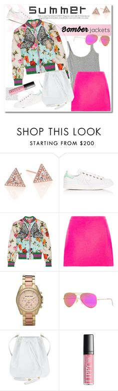 """""""Bomber jackets"""" by vkmd on Polyvore featuring EF Collection, adidas, Gucci, Versace, Michael Kors, Ray-Ban and bomberjackets"""