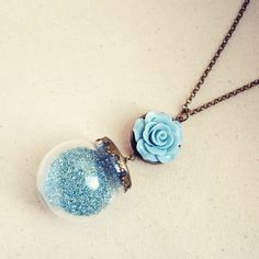 Glitter Bubble Necklace with Blue German by DearDelilahHandmade